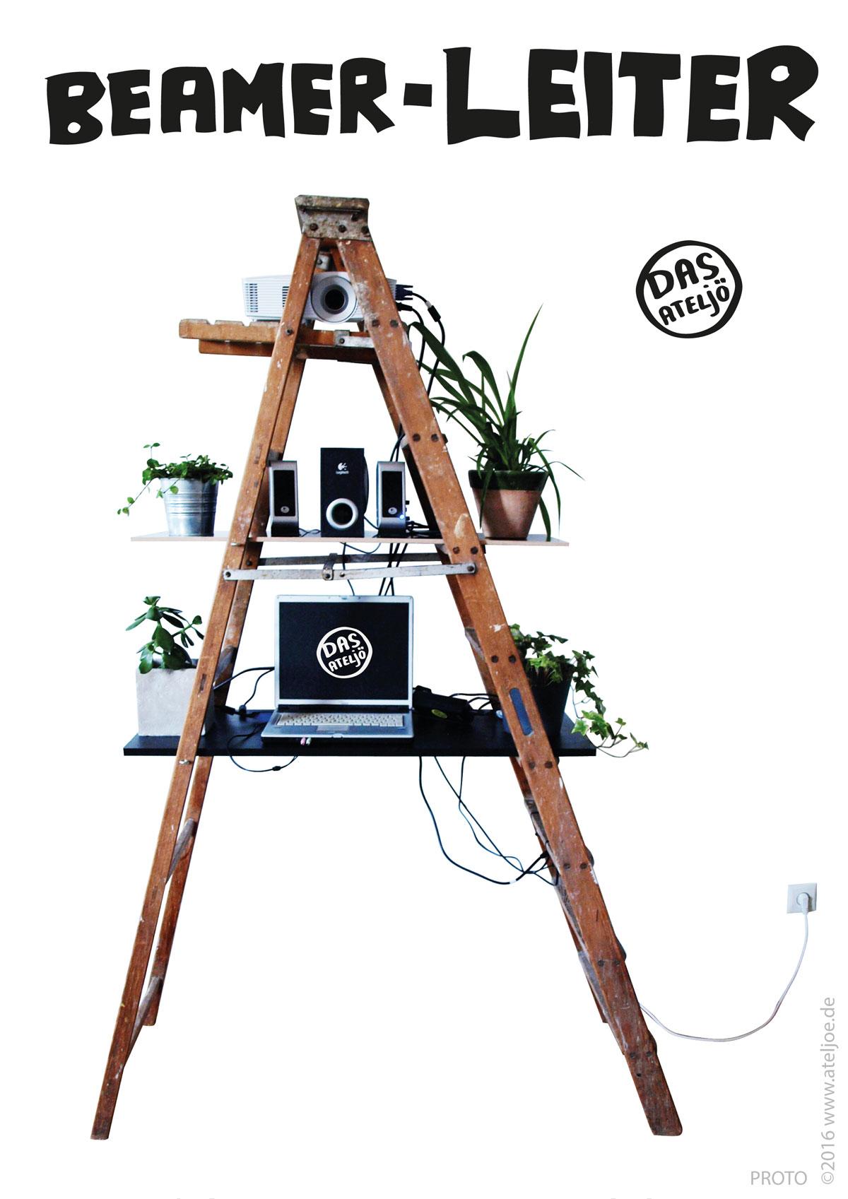 selbstgebautes Beamer-Leiter-Regal