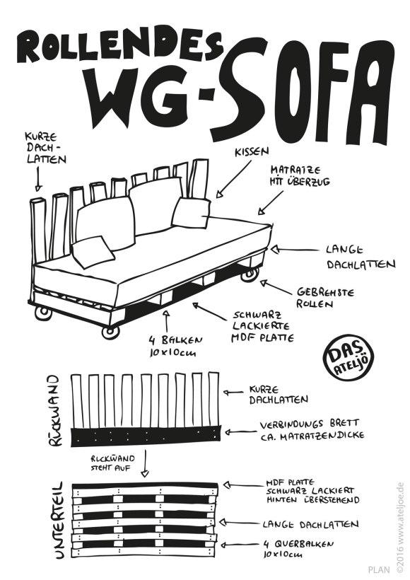 selbstgebautes Sofa auf Rollen