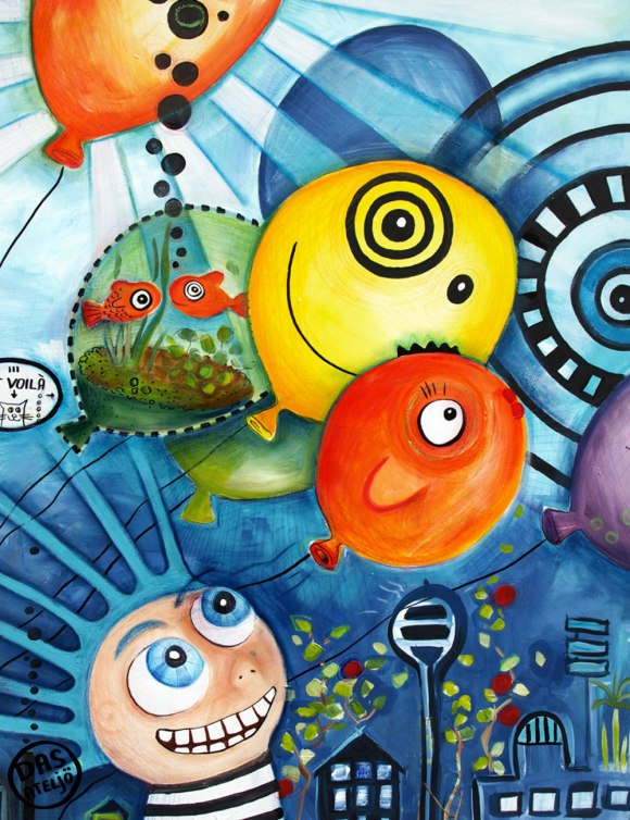 Fische und Luftballons - Illustration aus dem Ateljö